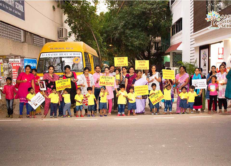 Justice For Hasini - Peace Protest at Aachi Global School